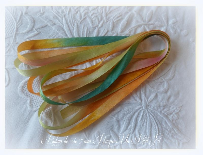 Ruban de soie 7 mm pourpier un petit fil 1