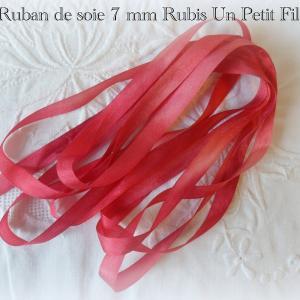Ruban de soie 7 mm rubis un petit fil
