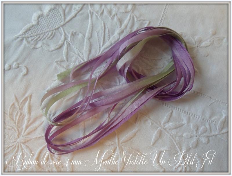 Ruban soie 4 mm menthe violette un petit fil 2
