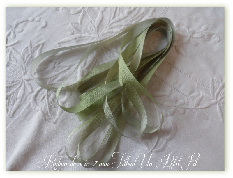Ruban soie 7 mm tilleul un petit fil