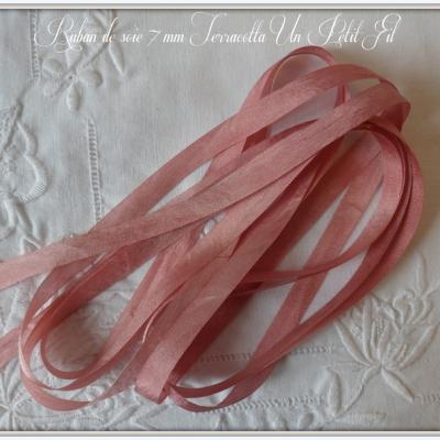 Ruban de soie Terracotta 7 mm