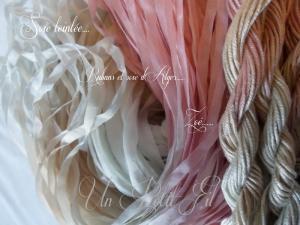 Rubans de soie 4 et 7 mm et soie d alger teintee zoe par un petit fil