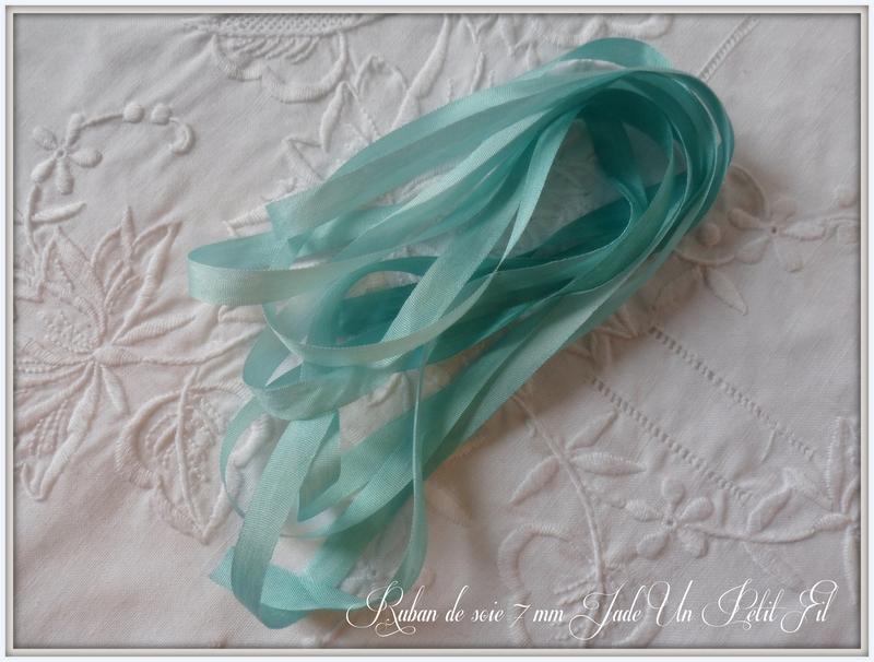 Rubans de soie jade 7 mm un petit fil 2