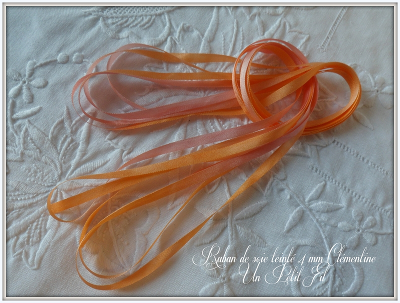 Rubans de soie teintes clementine 4 mm un petit fil 1