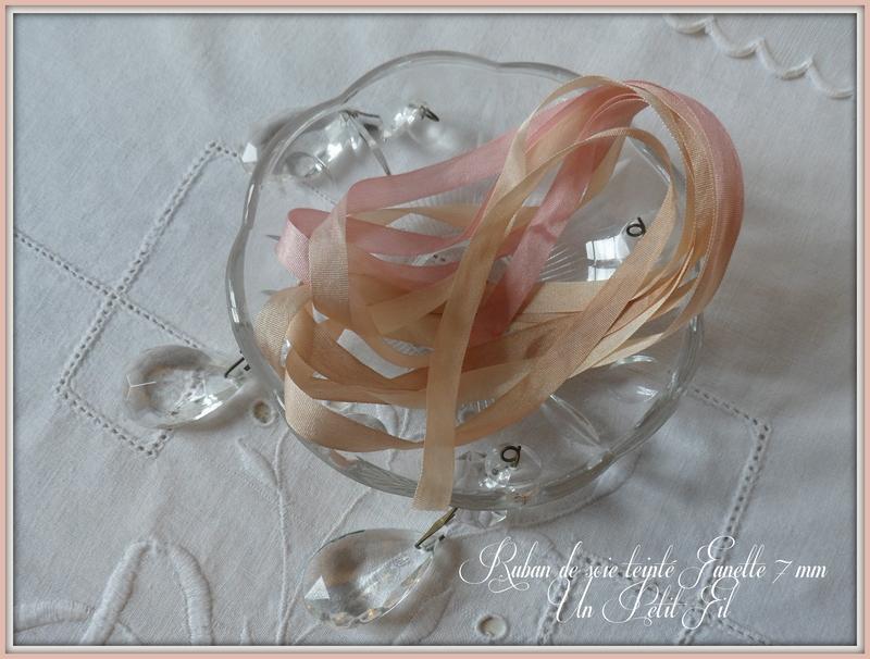 Rubans de soie teintes fanette 7 mm un petit fil