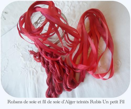 Rubans et fils de soie ligne rubis un petit fil
