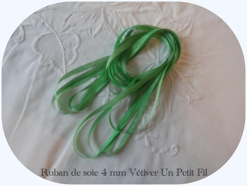 Rubans soie 4 mm vetiver un petit fil