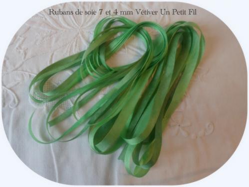 Rubans soie 7 et 4 mm vetiver un petit fil