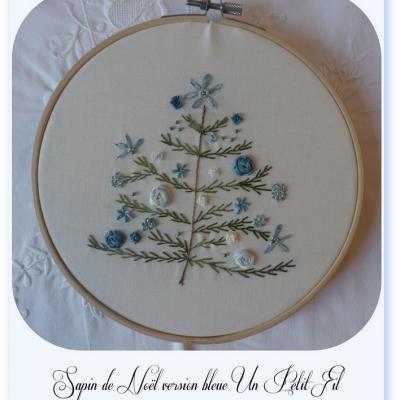 Kit Sapin de Noël version bleue ( Rubans de soie et fils coton)