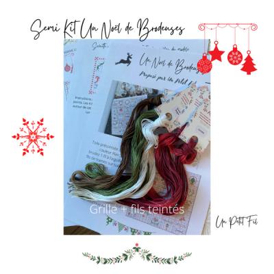 Semi kit Un Noël de Brodeuses ( avec fils et grille papier)