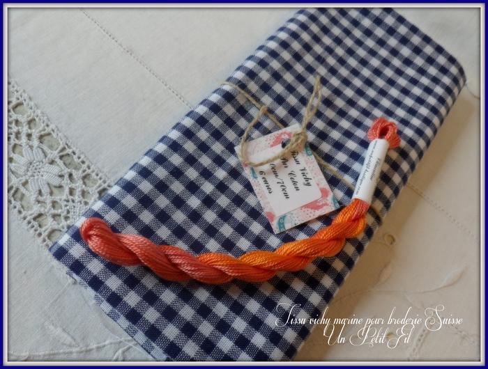 Tissu vichy marine