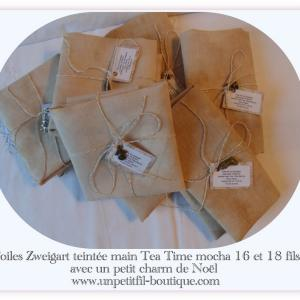 Toiles teintee main tea time mocha 16 et 18 fils