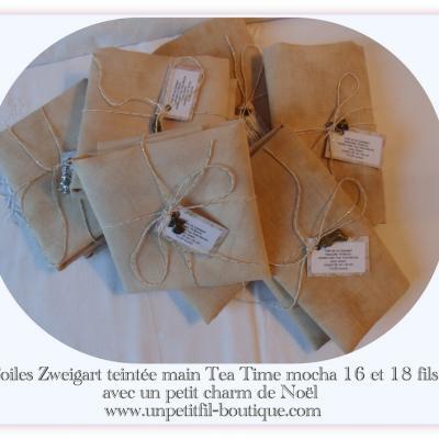Toile teintée Tea Time 16 fils mocha 30 cm X 34 cm