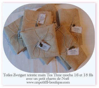 Toile teintée Tea Time 16 fils mocha 30 cm X 30 cm